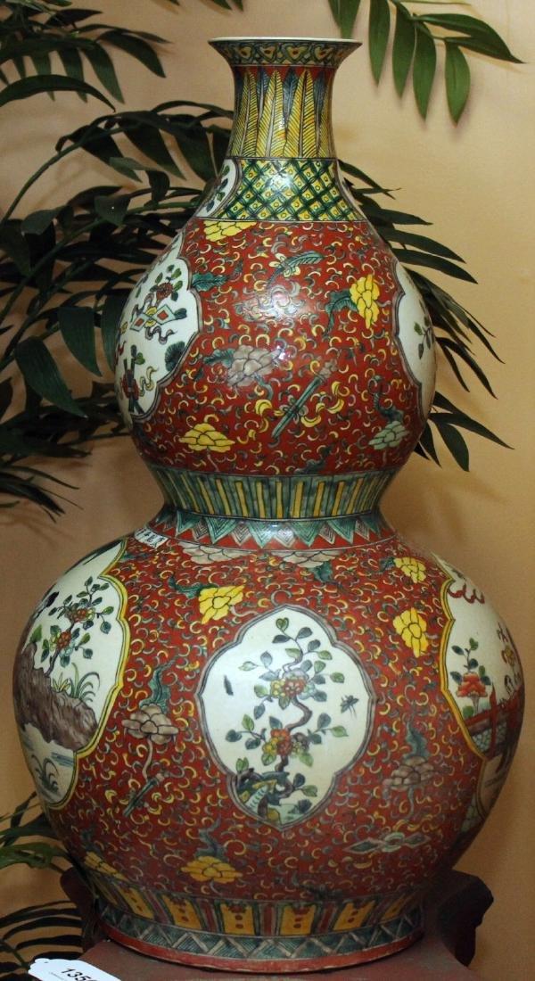 "Chinese glazed 4 panel dbl gourd vase 14"" x 25"" - 4"