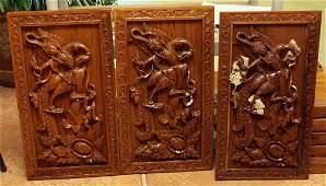 Set 3 Burmese wd carved plaques 15 x 27