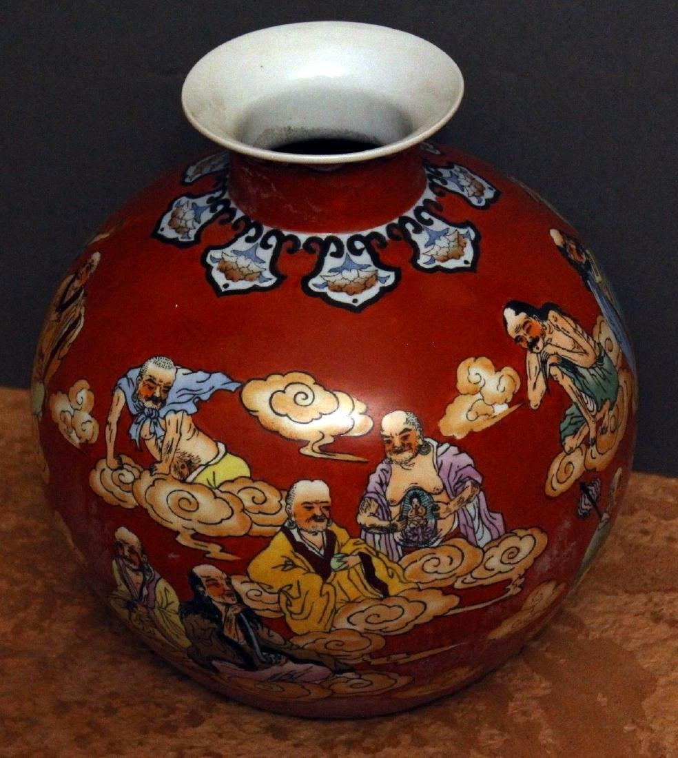"Chinese gourd vase 10.5"" x 10.5"" depicting wisemen and - 4"