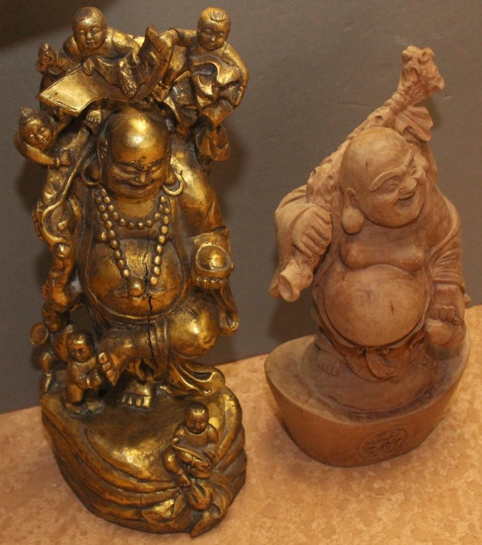 "2 Chinese wd carved statues, 1 gilt deco wiseman 9"" x"