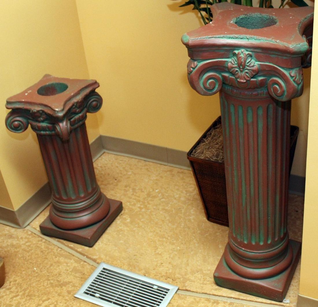 """2 antiqued concrete ped. columns 13"""" x 37.5"""" & 13"""" x"""