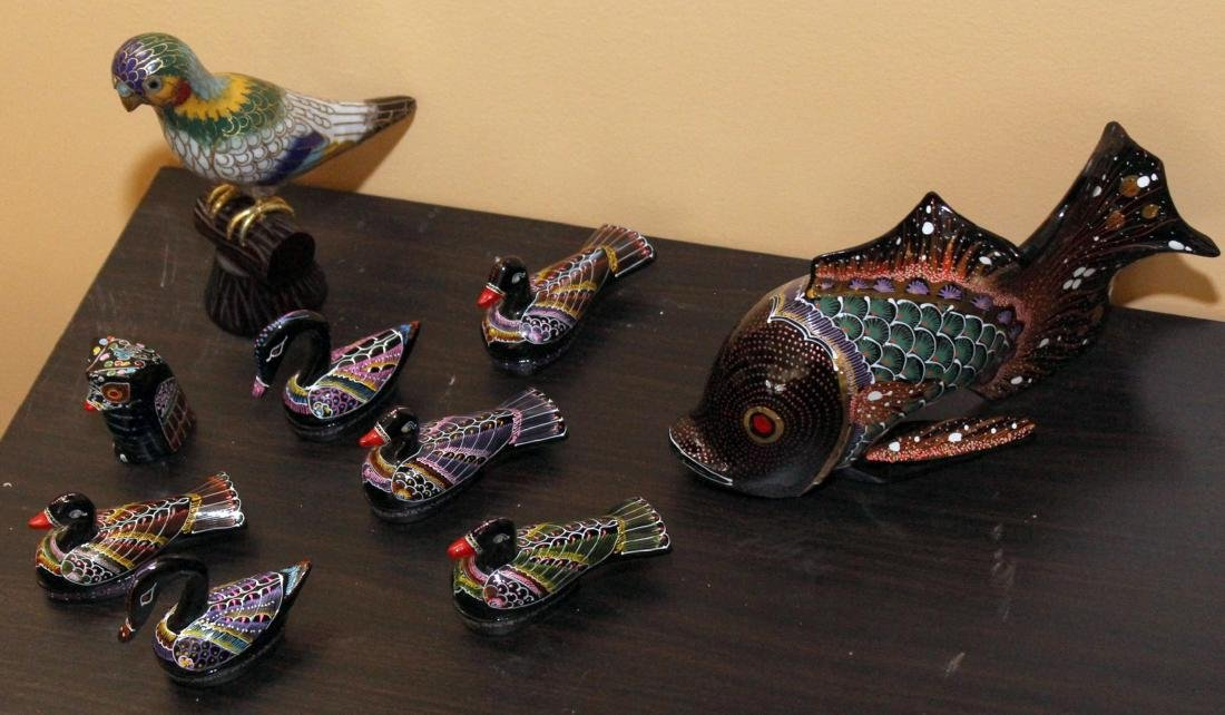Lot of 9 birds & or fish; 1 being Cloisonne. Cloisonnne