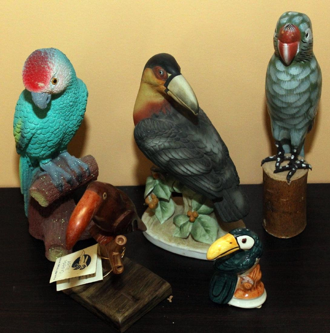 "Lot of 5 birds, largest 5"" x 8.5""; 3 are toucans"