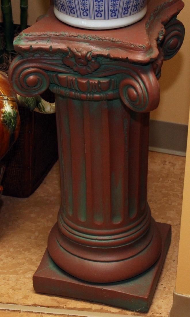 """2 Antiqued Concrete Ped Columns 13: x 3.75"""" & 13"""" x 25"""""""