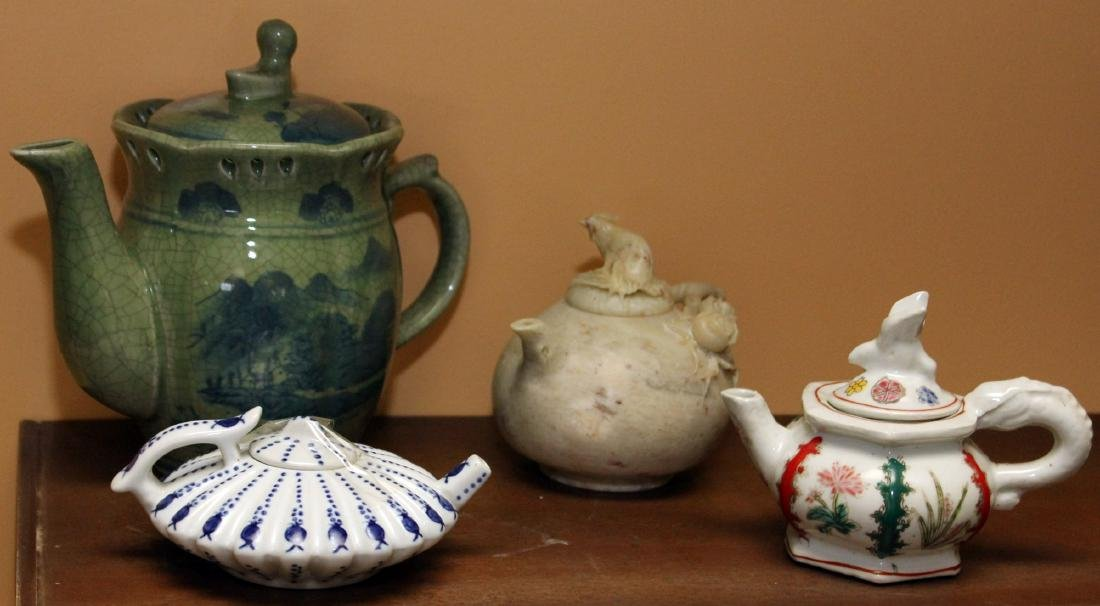 Set of 4 Chinese carved hardstone & porcelain teapots;