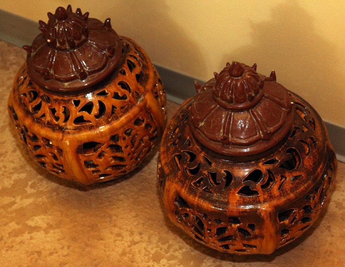 2 Chinese stoneware glazed pierced lanterns; brown one