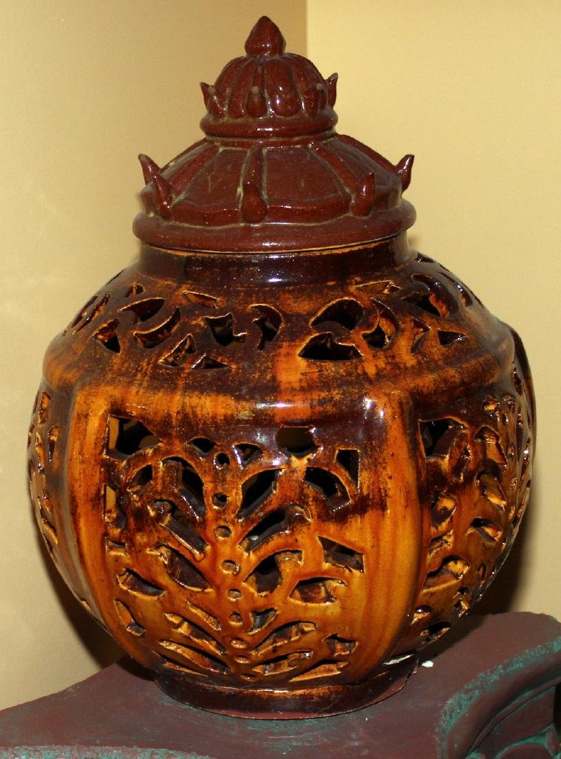 2 Chinese stoneware glazed pierced lanterns; brown one - 2