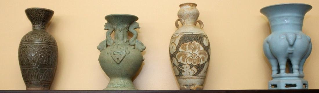 Set 4 Chinese vases. Assorted celadon, footed and clay.