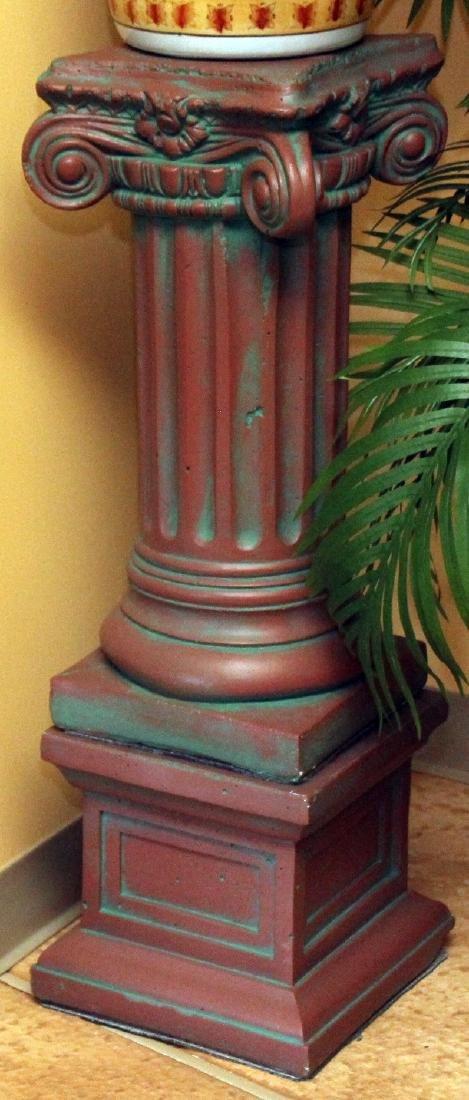 """2 Antiqued concrete pedestal columns 10.75"""" x 25"""" and"""