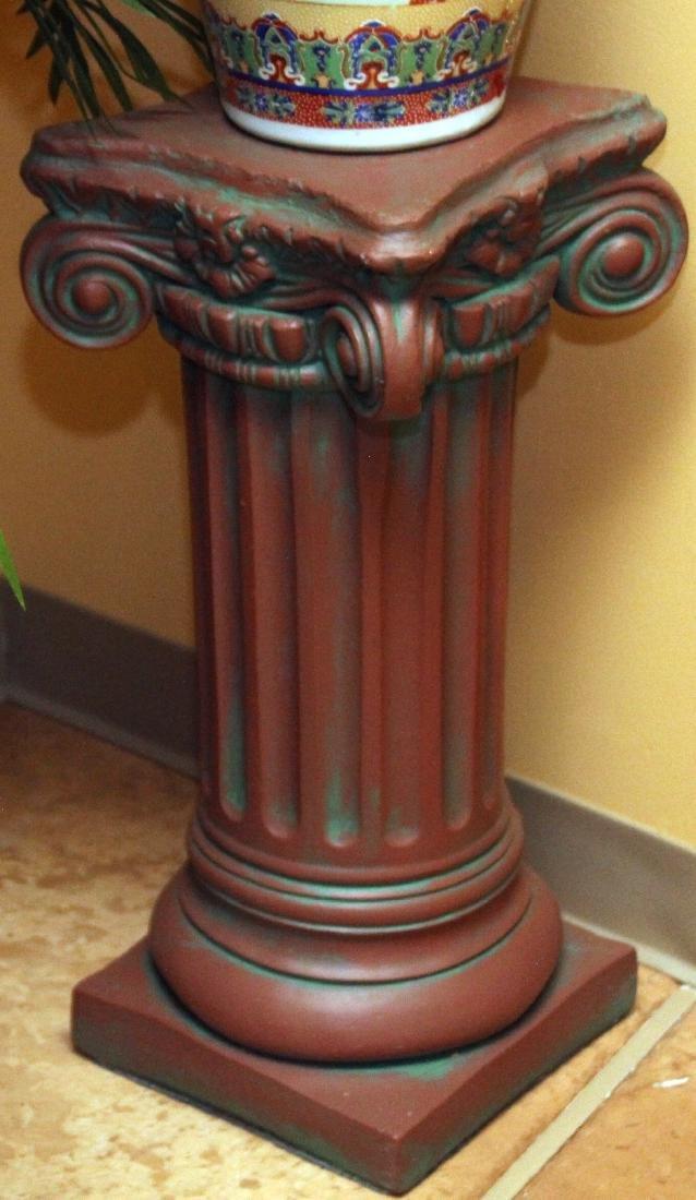 """2 Antiqued concrete pedestal columns 10.75"""" x 25"""" and - 2"""