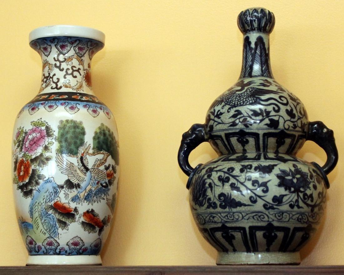 """Underglazed double gourd vase 9"""" x 15""""; Chinese crane"""