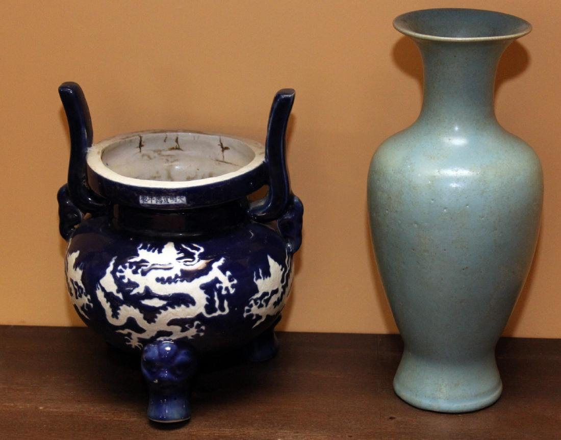 """2 Chinese porcelain vases 1 being 3 footed 8.5"""" x 10.5"""""""