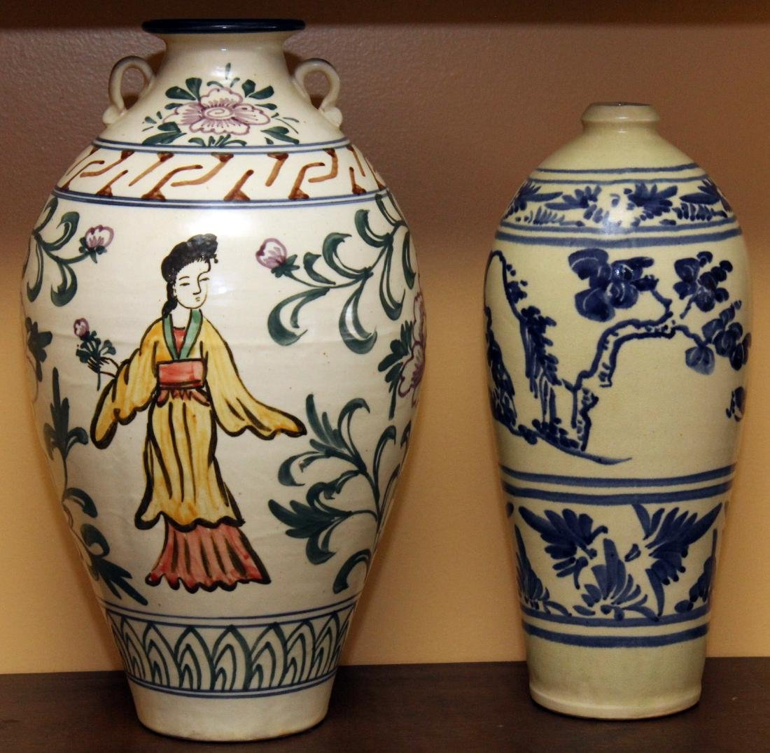 "2 Chinese glazed vase, large 8.5"" x 15"""
