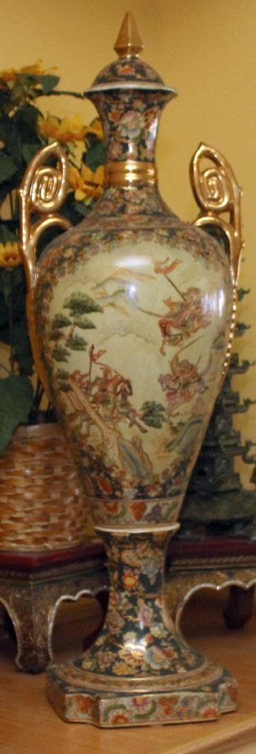 Chinese porcelain double handled lidded urn w/scene of