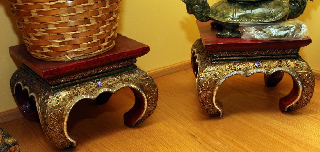 "Pair Thai mirrored stands w/sunflower 11"" x 8"""
