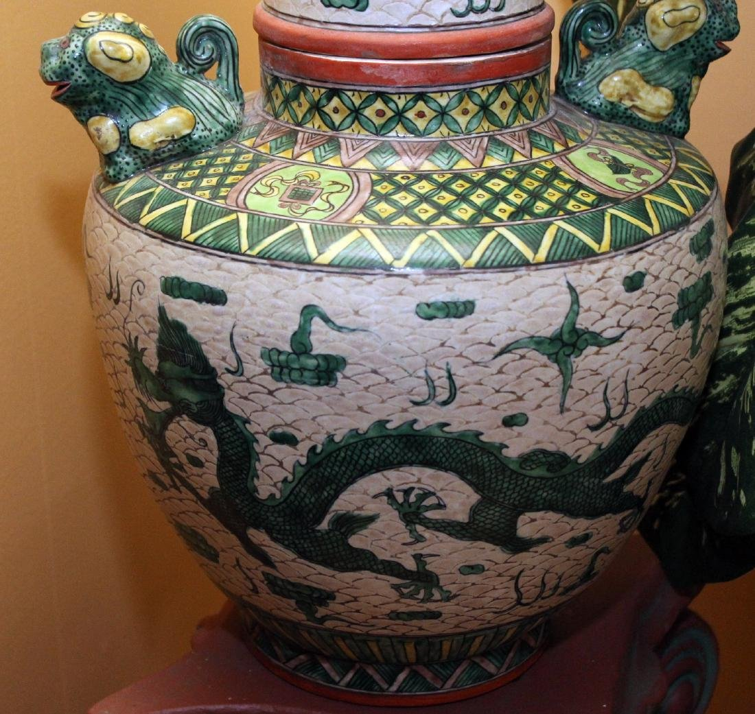 Chinese porcelain glazed lidded vessel having temple - 2