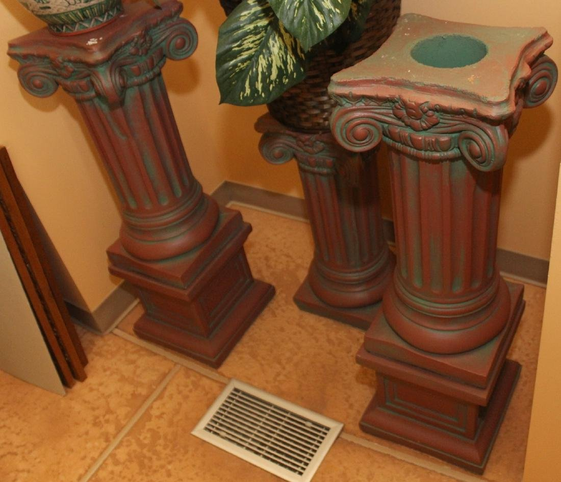 """Set of 3 antiqued concrete column stands; 2 are 11"""" x"""