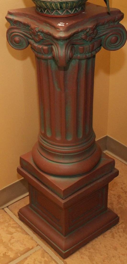 """Set of 3 antiqued concrete column stands; 2 are 11"""" x - 2"""