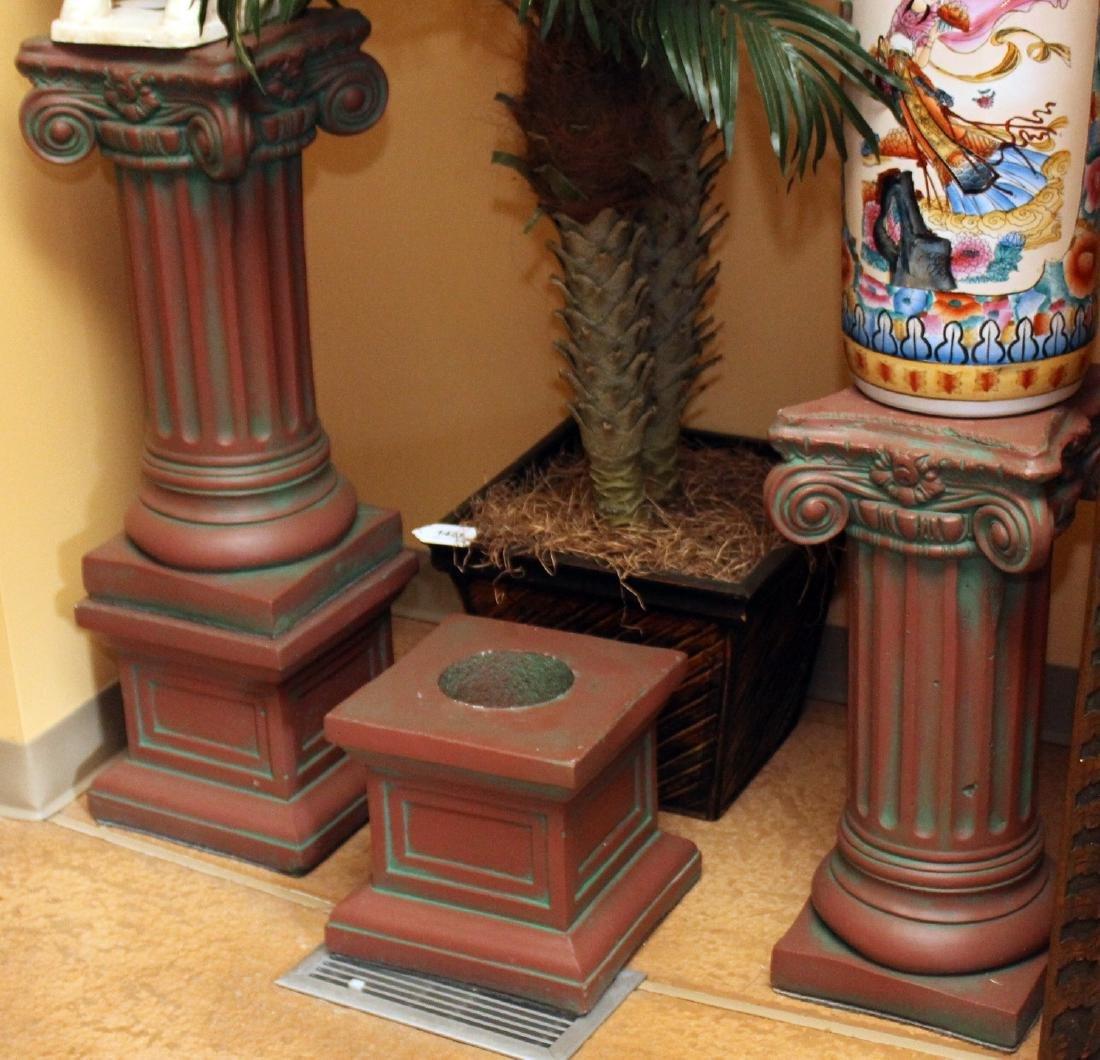 """Pair antiqued Concrete Pedestal columns 11"""" x 36"""""""