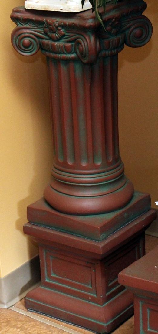 """Pair antiqued Concrete Pedestal columns 11"""" x 36"""" - 2"""