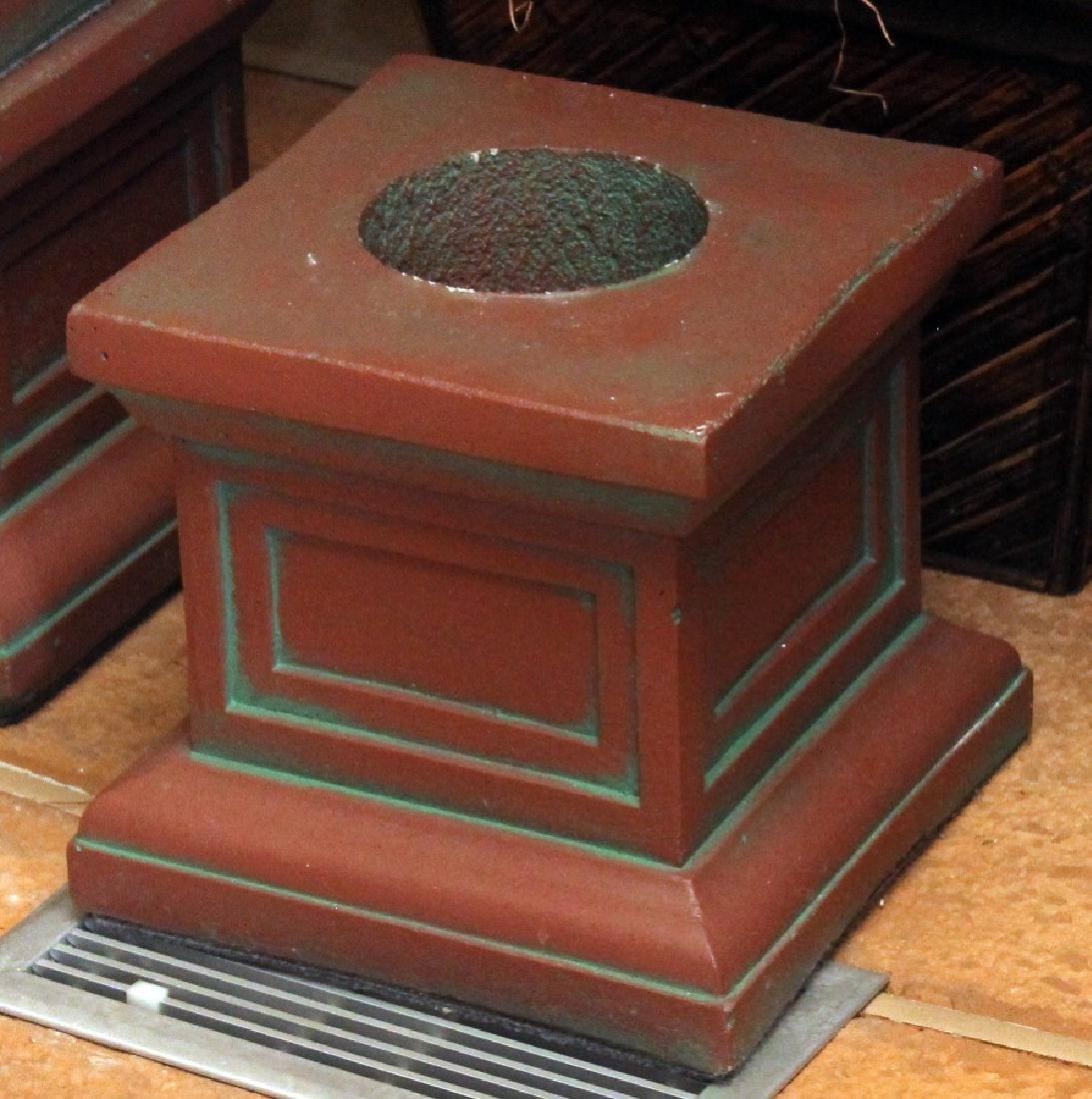 """Pair antiqued Concrete Pedestal columns 11"""" x 36"""" - 3"""