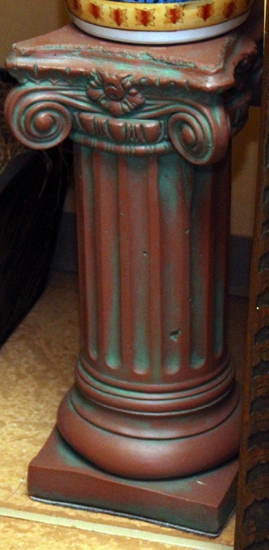 """Pair antiqued Concrete Pedestal columns 11"""" x 36"""" - 4"""