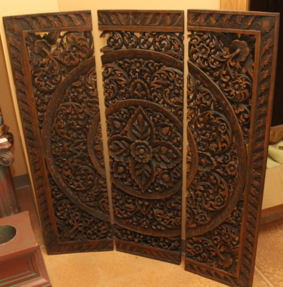 Set of 3 Chinese wooden carved panels to create