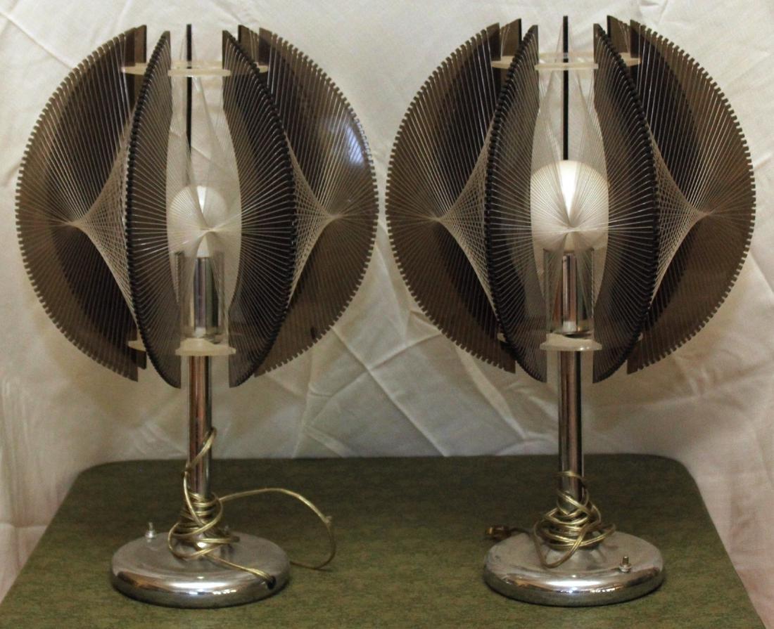 Pair mid century modern chrome, plexi, & string
