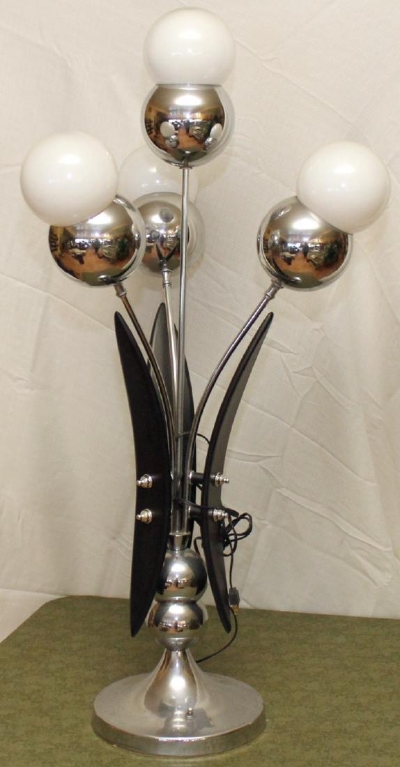 4 bulb mid century modern table lamp, wood and chrome