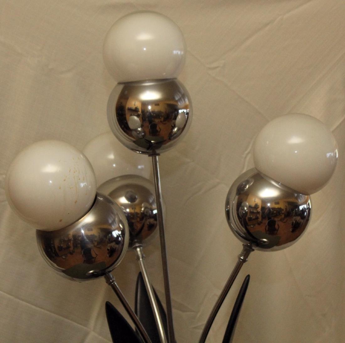 4 bulb mid century modern table lamp, wood and chrome - 2