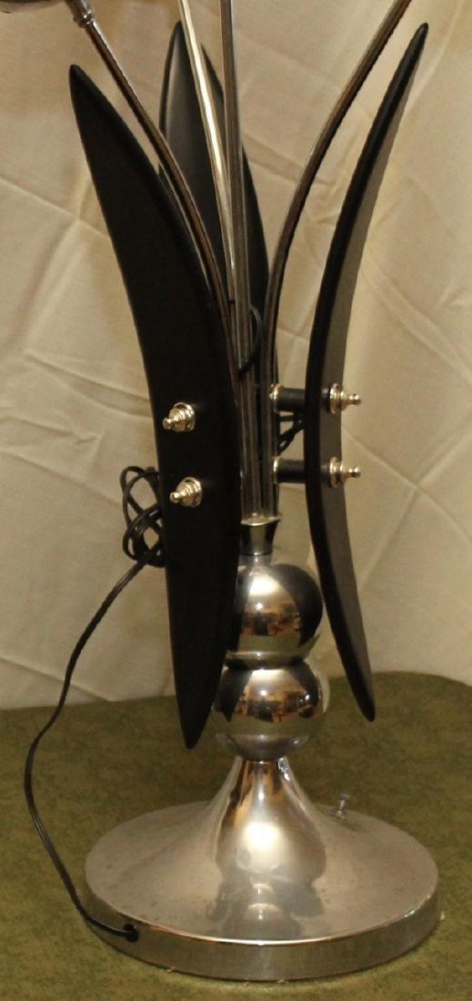 4 bulb mid century modern table lamp, wood and chrome - 3