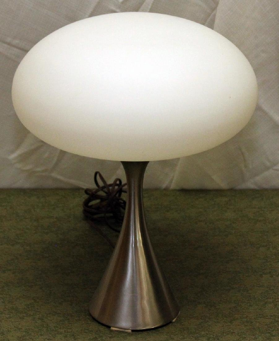 Mid century modern cast chrome UFO light, satin glass