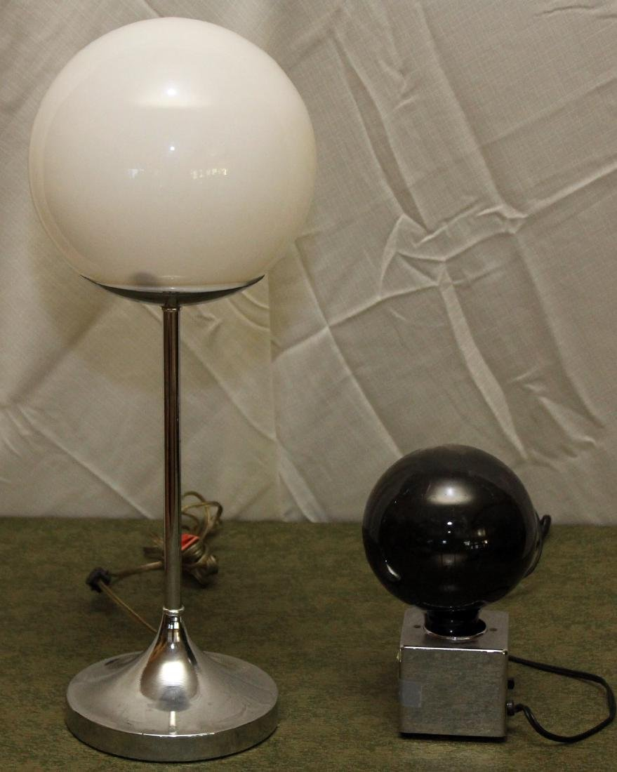 "2 Mid century modern ball lamps; 1 black ball 4"" x 9"";"