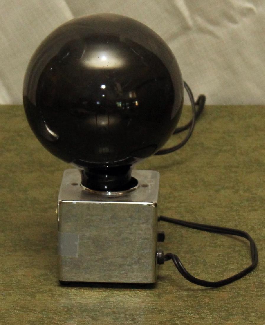 "2 Mid century modern ball lamps; 1 black ball 4"" x 9""; - 2"