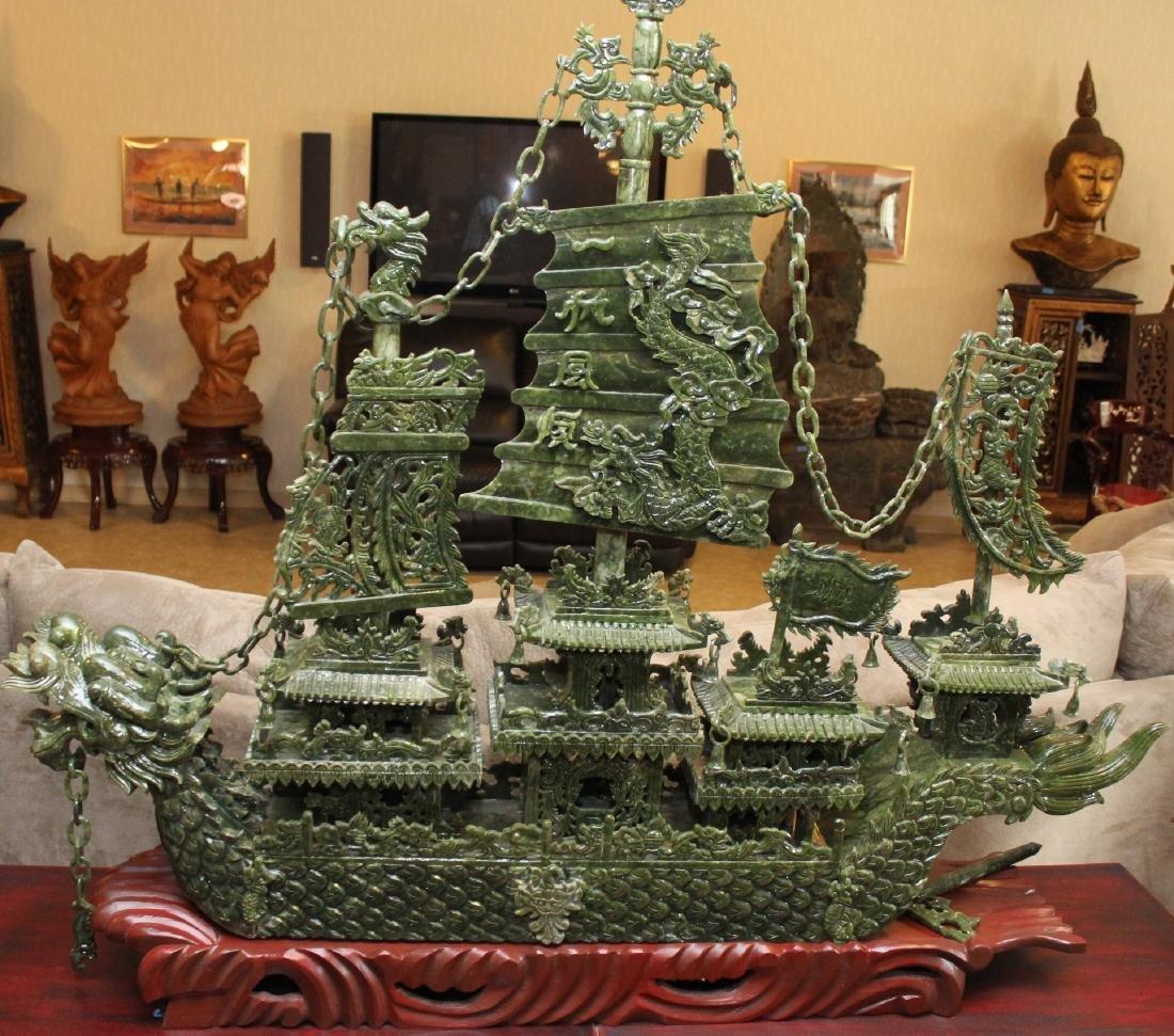 Large Chinese Hardstone Dragon Boat Sculpture, modern;