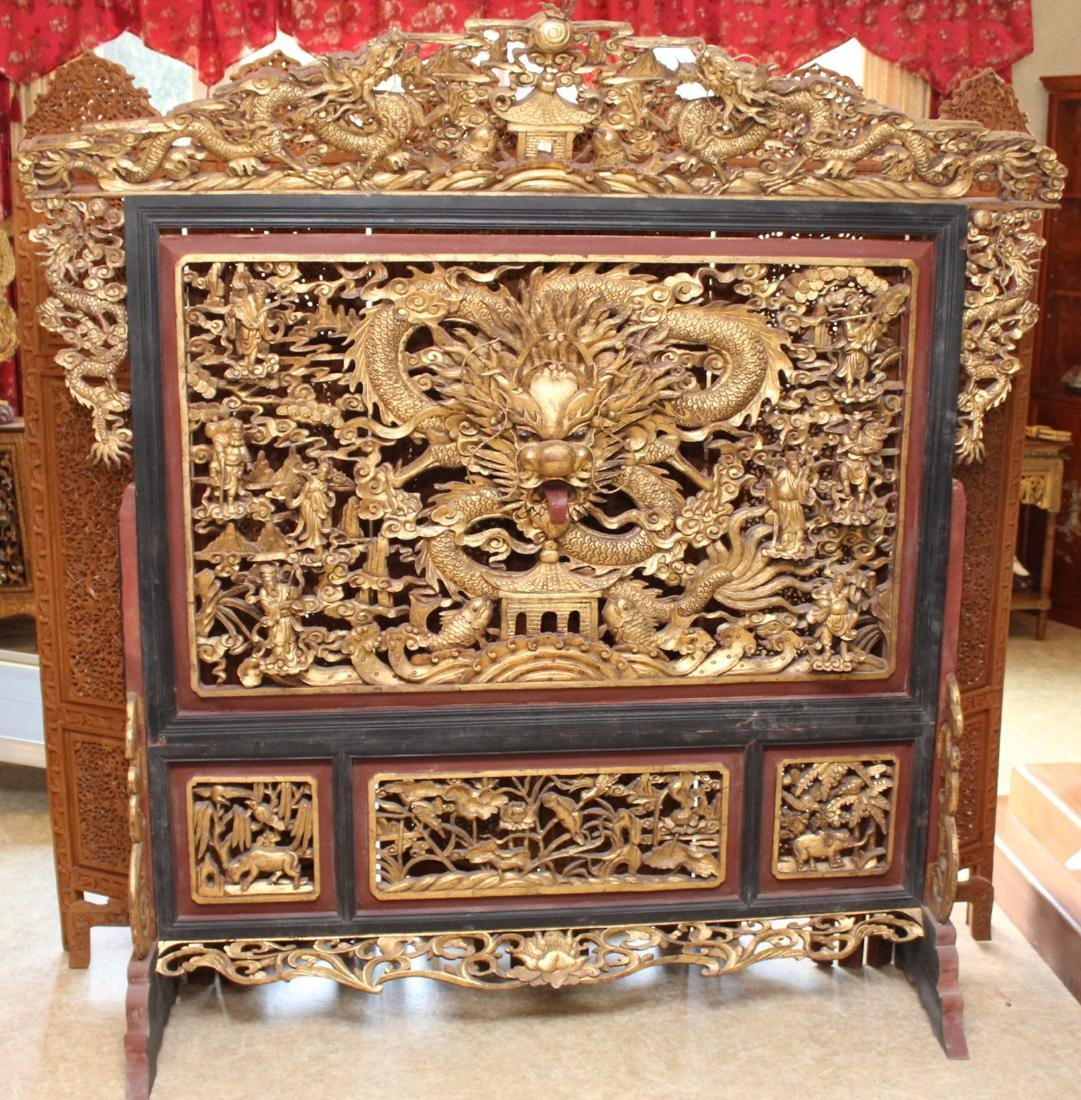 Chinese Gilt and Painted Carved Wood Dragon and