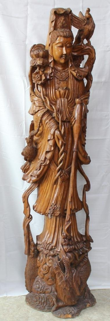 Asian Contemporary Carved Wood Figure of Guanyin