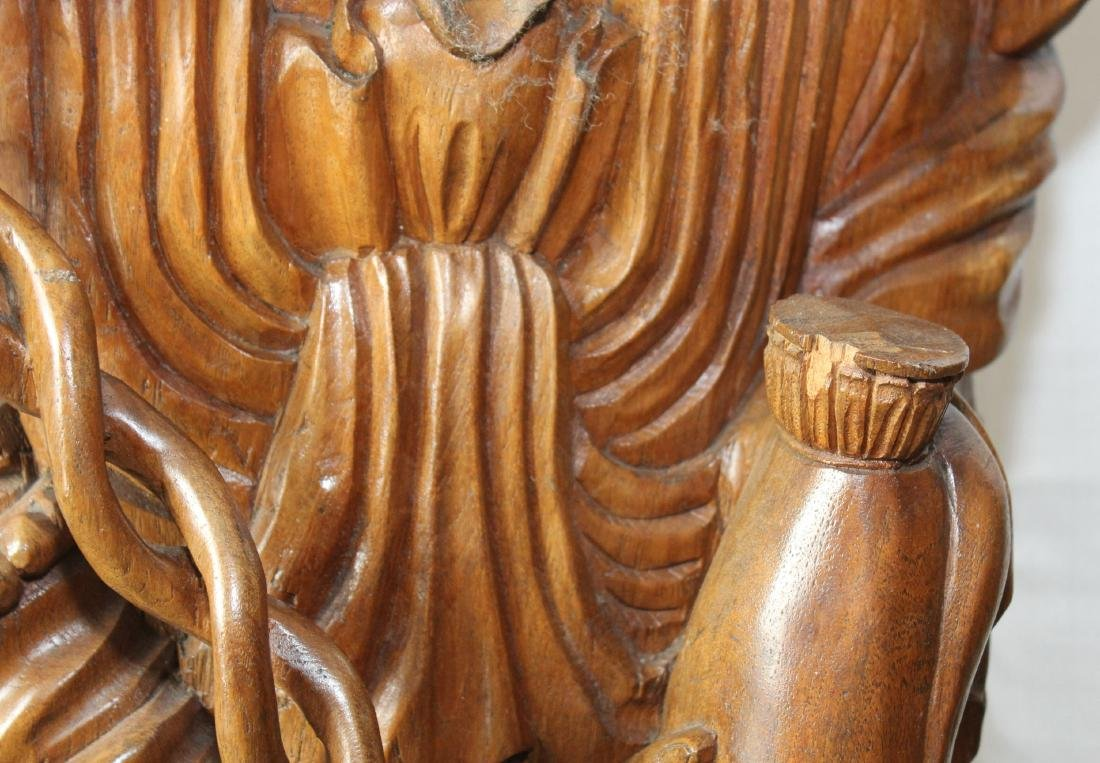 Asian Contemporary Carved Wood Figure of Guanyin - 3