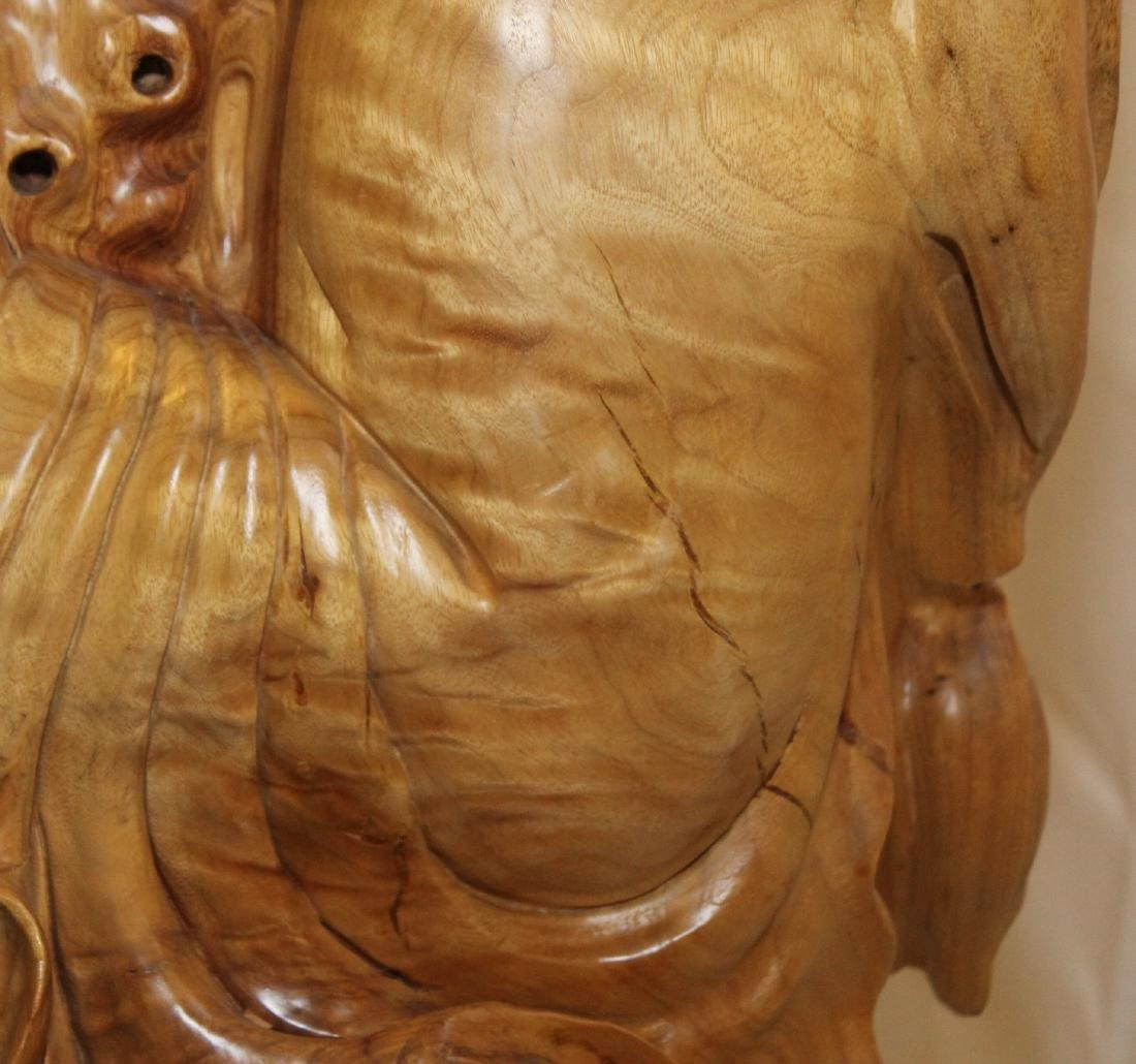 Large Chinese contemporary carved wood figure of Hotai; - 9