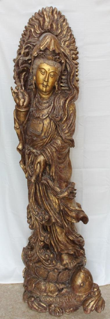 Large Chinese Gilt Lacquered Carved Wood Figure of