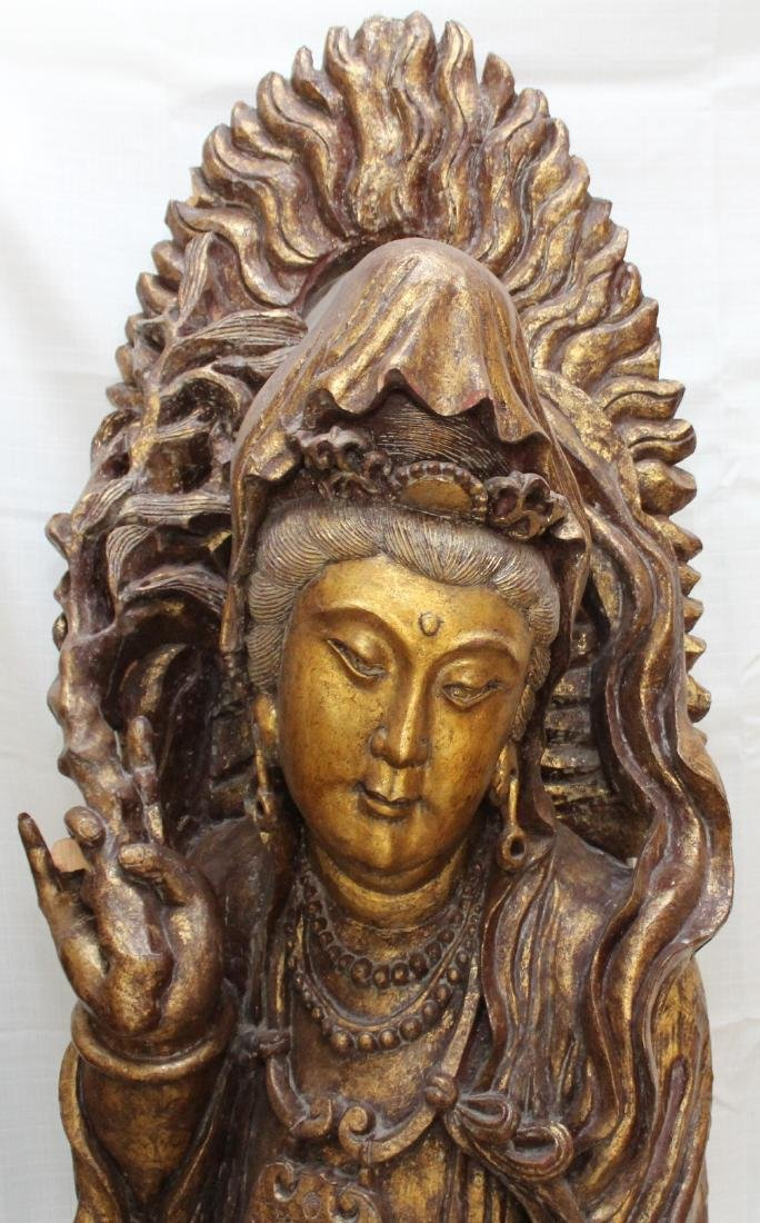 Large Chinese Gilt Lacquered Carved Wood Figure of - 3