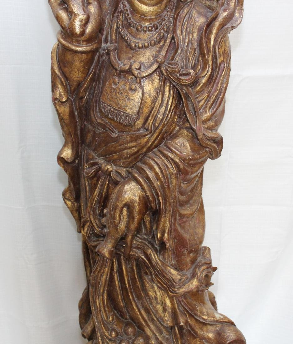 Large Chinese Gilt Lacquered Carved Wood Figure of - 4