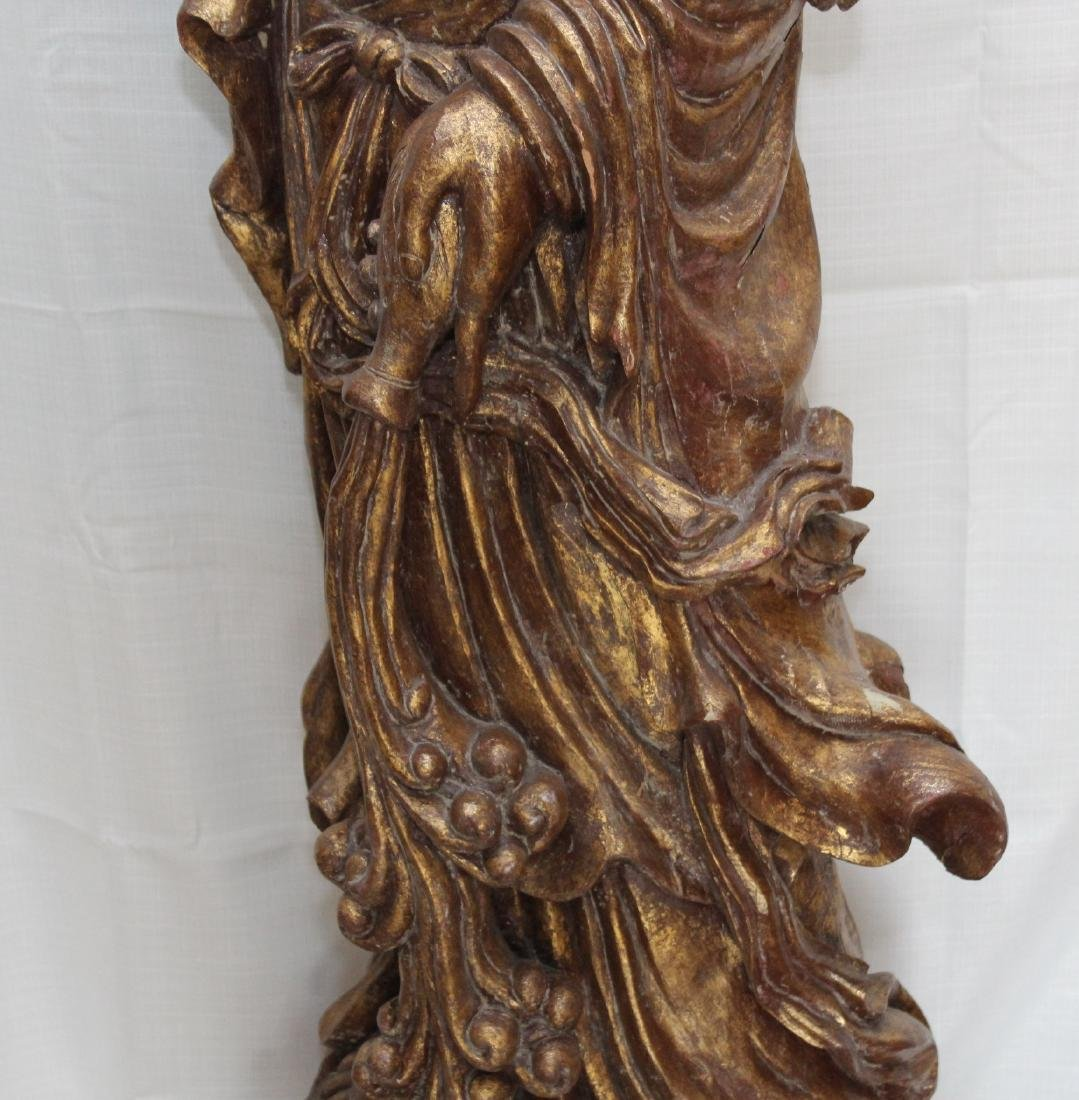 Large Chinese Gilt Lacquered Carved Wood Figure of - 6