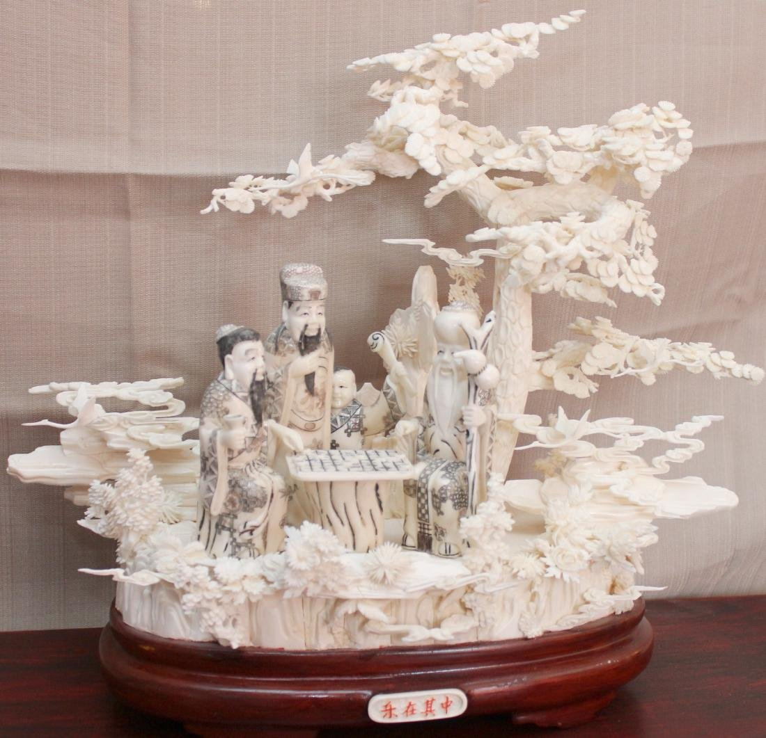 Chinese Carved and Veneered Bone Figural Group with