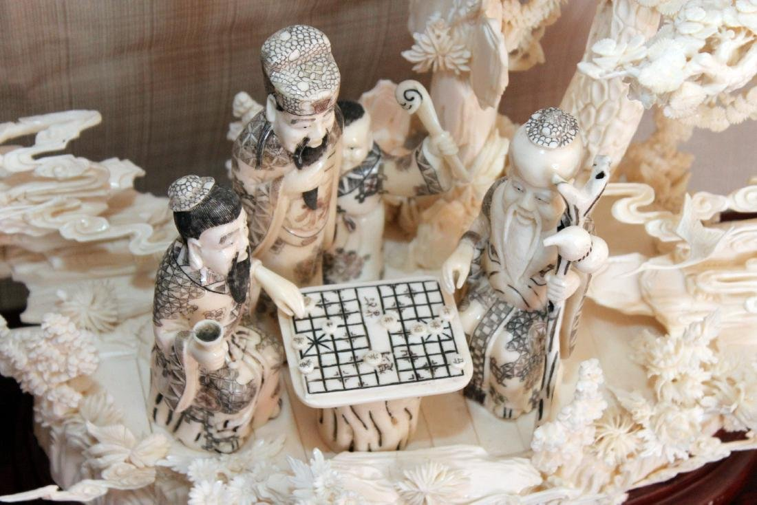 Chinese Carved and Veneered Bone Figural Group with - 5