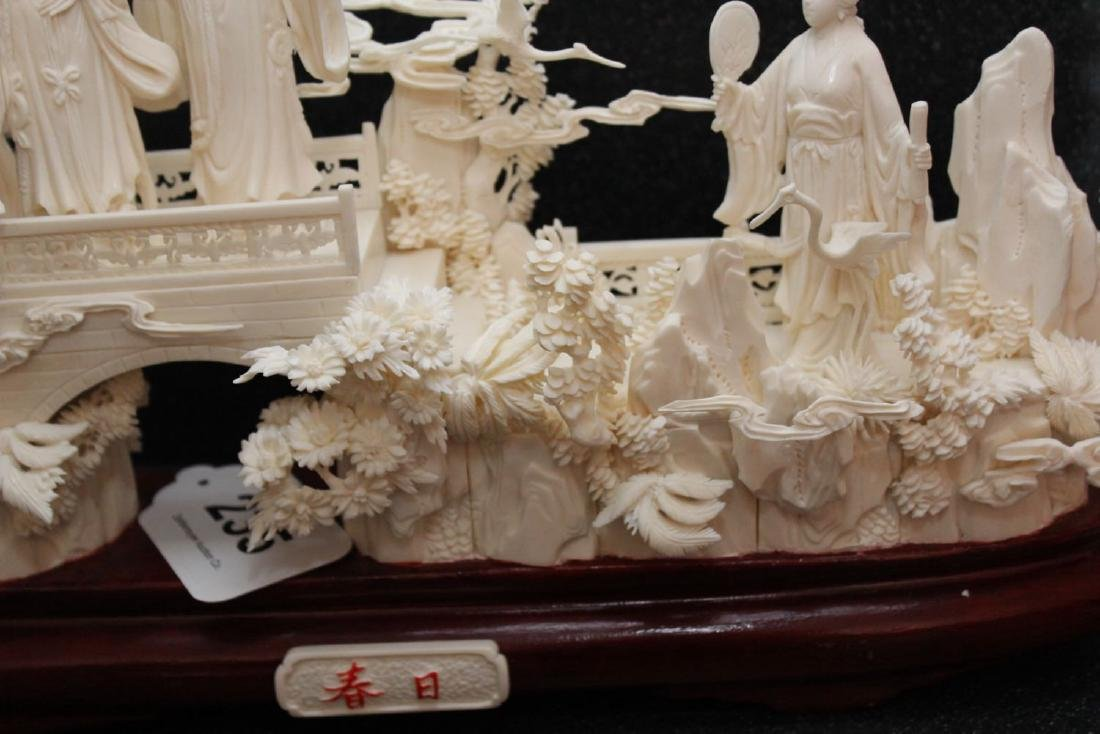 Chinese Carved and Veneered Bone Figural Group of - 4