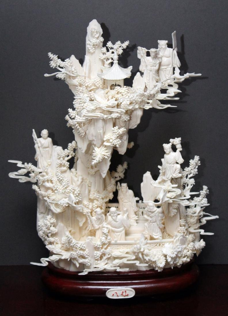 Chinese Carved and Veneered Bone Figural Group of