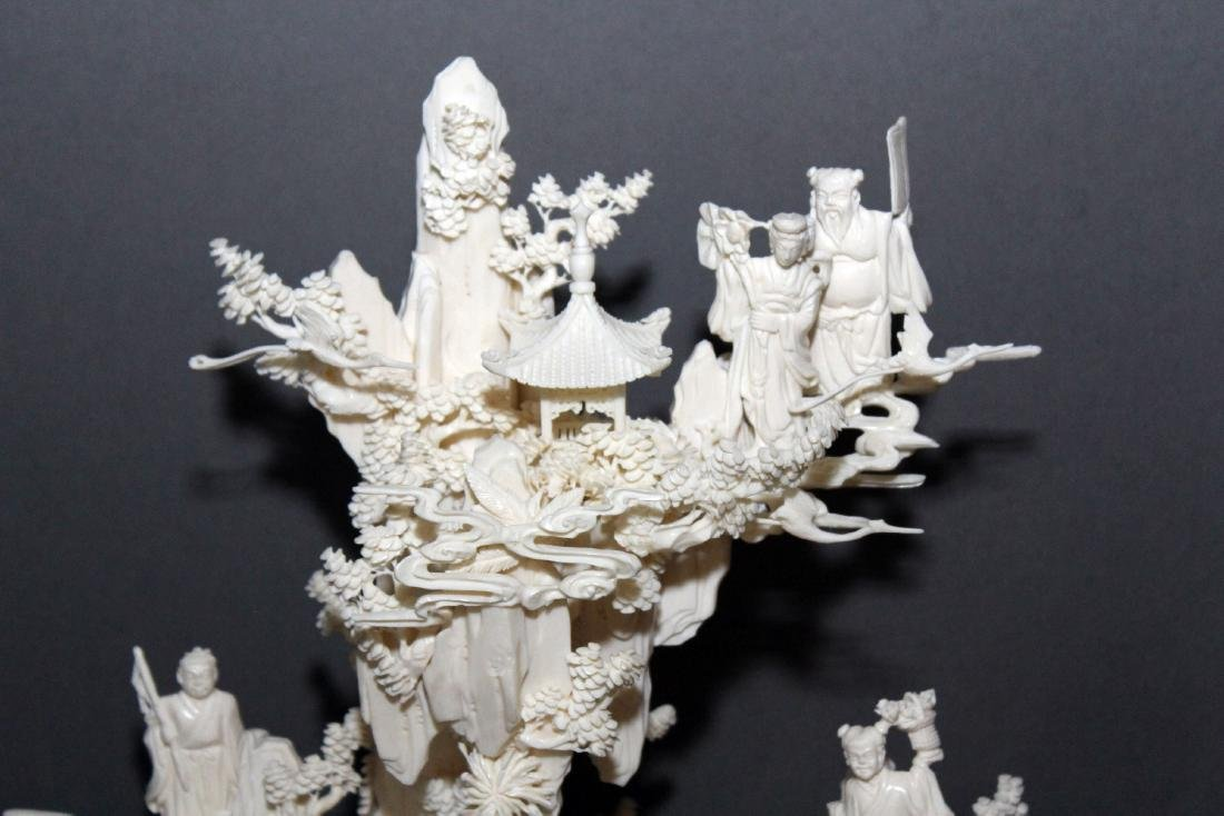 Chinese Carved and Veneered Bone Figural Group of - 3