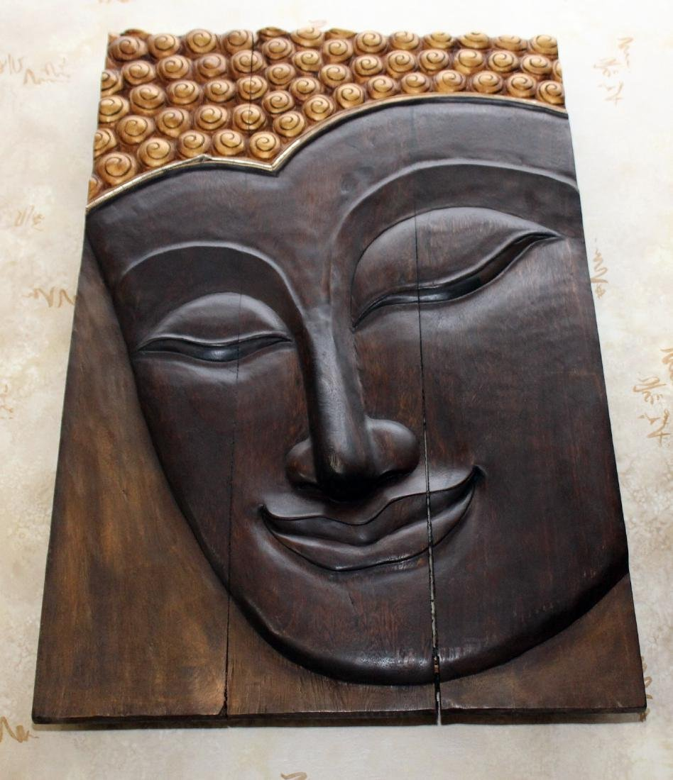"""Thailand wood carved base wall plaque 24"""" x 36"""""""