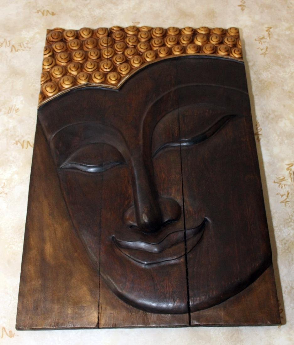 """Thailand wood carved base wall plaque 24"""" x 36"""" - 2"""